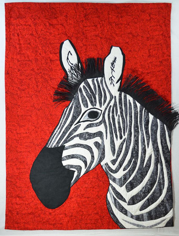 art quilt of zebra by Susanne Miller Jones