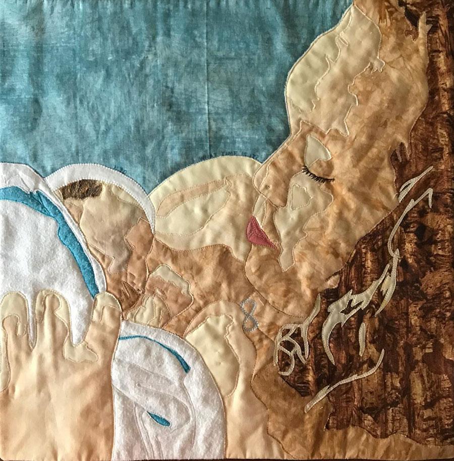 Art quilt portrait by Susanne Miller Jones - mother and baby