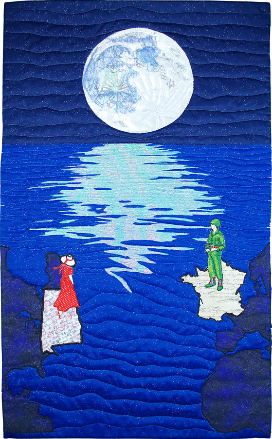 Art quilt of the moon and family memories by Susanne Miller Jones