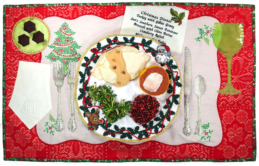 Art quilt of a special Christmas dinner by Susanne Miller Jones