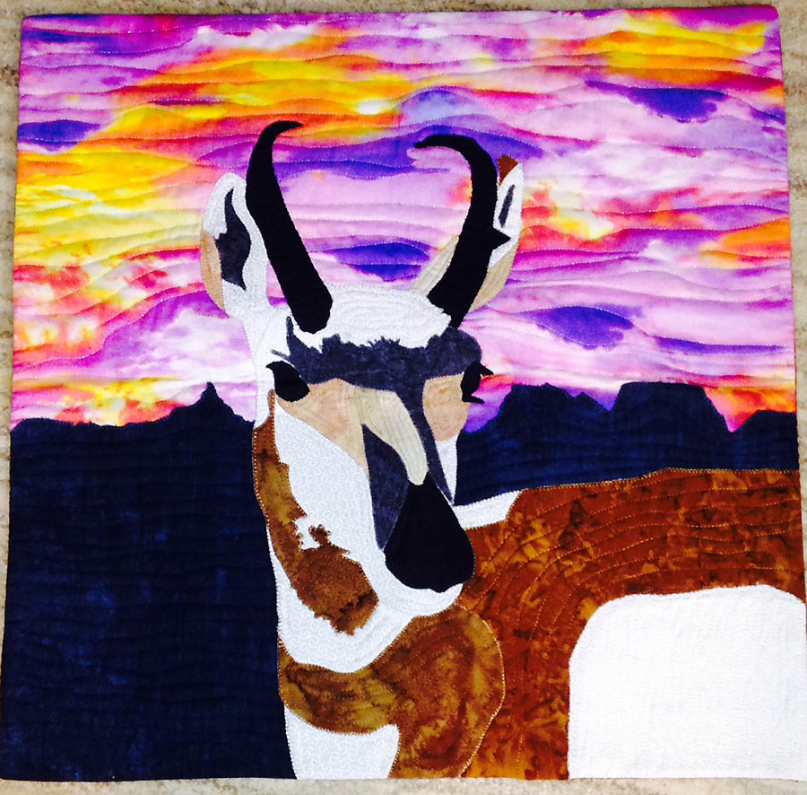 art quilt inspired by pronghorn