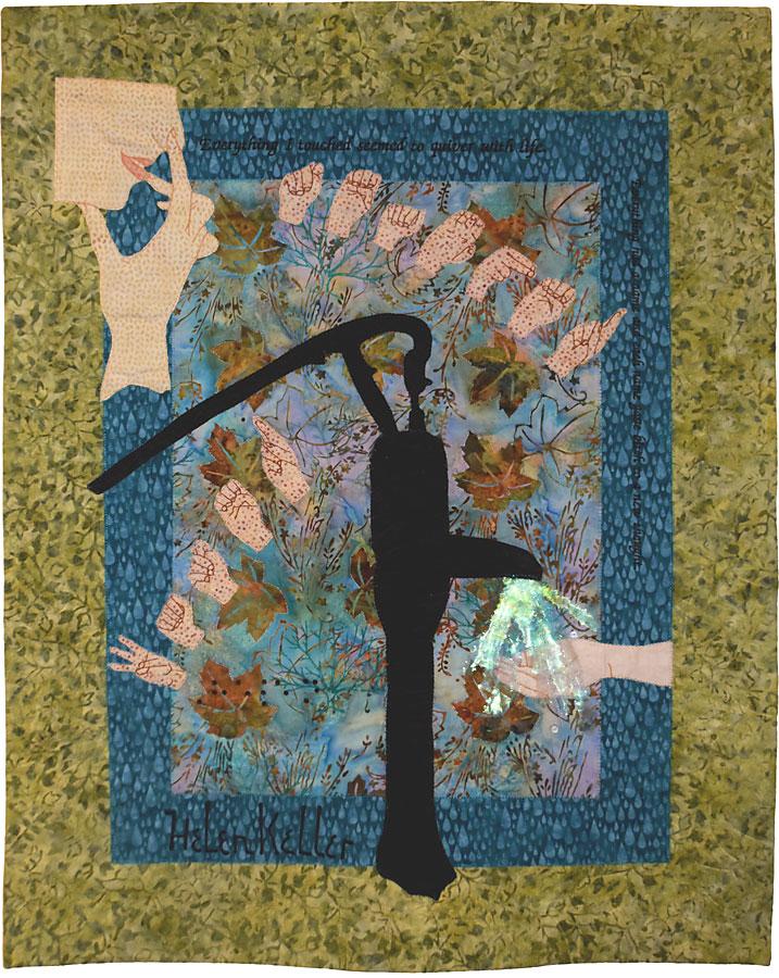 fiber art inspired by Anne Sullivan and Helen Keller