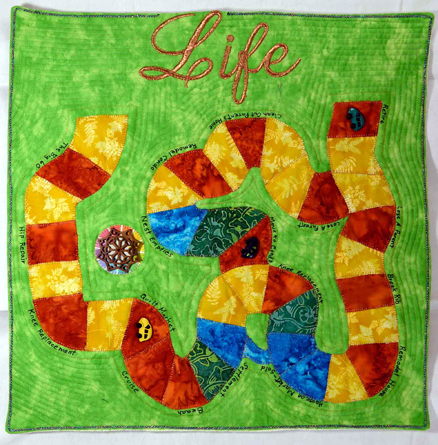 """art quilt with """"life"""" theme"""