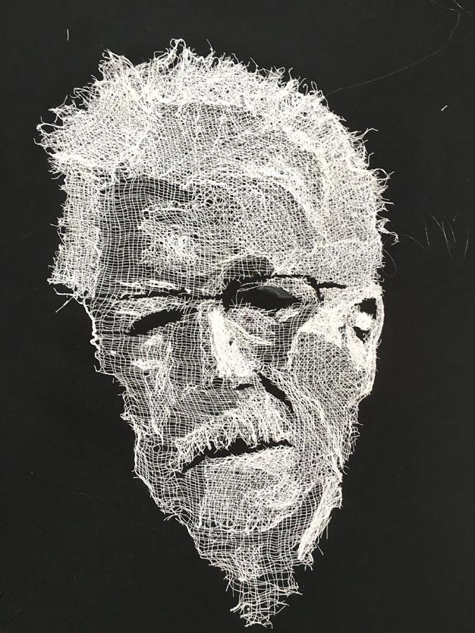 Art quilt portrait by Susanne Miller Jones